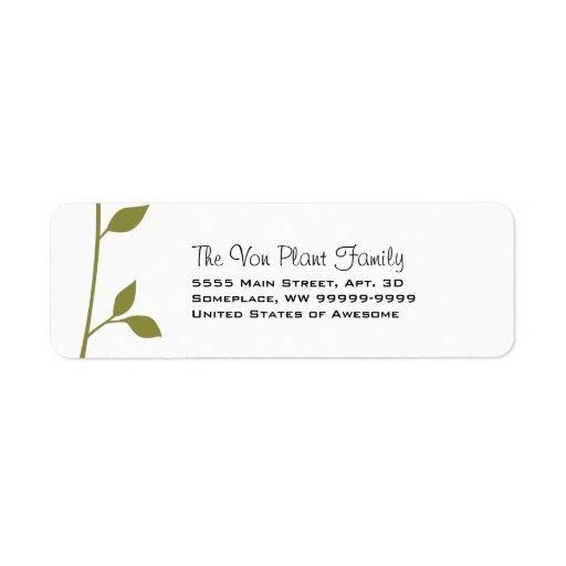 Twig and Leaf Custom Return Address Label