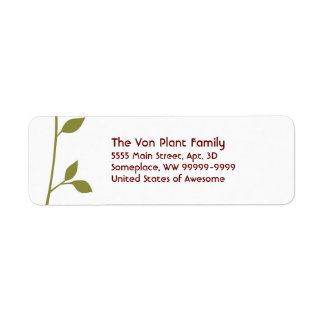 Twig and Leaf Return Address Label