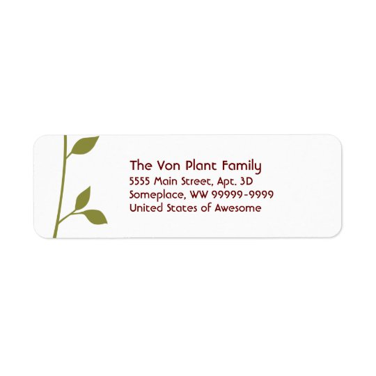 Twig and Leaf Return Address Label