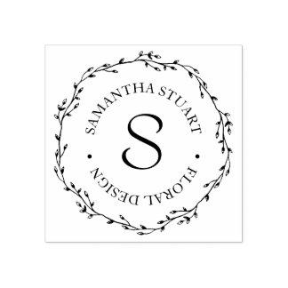 Twig Wreath Monogram Rubber Stamp