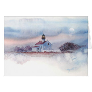 TWILIGHT AT OLD PT. LOMA LIGHTHOUSE, SAN DIEGO, CA CARD