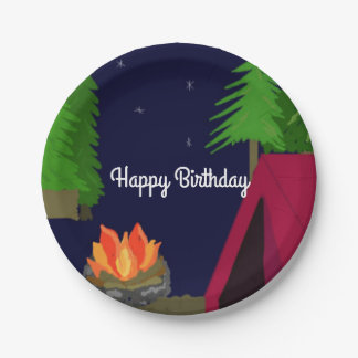 Twilight Campsite Birthday 7 Inch Paper Plate