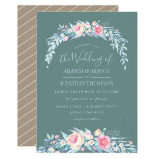 TWILIGHT colors Spring Wedding floral invitation
