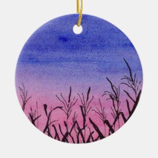 Twilight Corn Field Ceramic Ornament