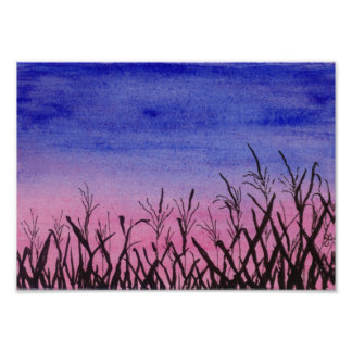 Twilight Corn Field Poster