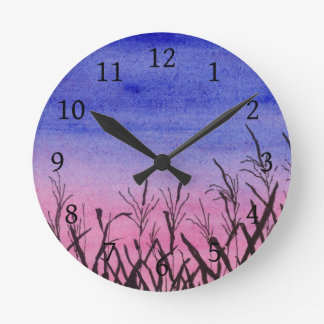 Twilight Corn Field Round Clock