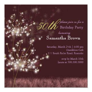 Twilight Dandelion 50th Birthday Party Card