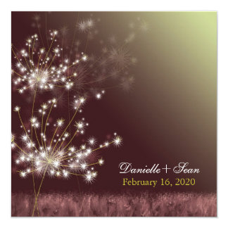 Twilight Dandelion Autumn Garden Wedding Card