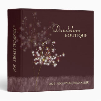 Twilight Dandelion Business Finance Report 3 Ring Binder