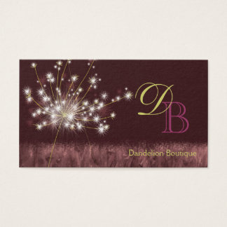 Twilight Dandelion Unique Monogram Business Cards