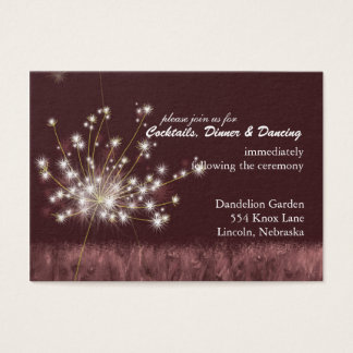 Twilight Dandelion Wedding Reception Business Card