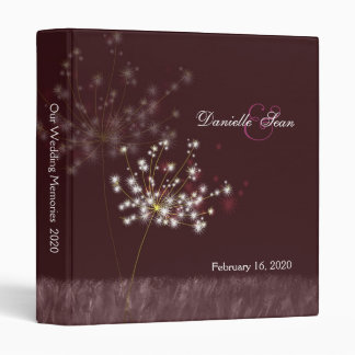 Twilight Dandelions Floral Wedding Vinyl Binder