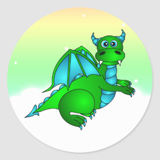 Twilight Flight - Cute Green & Blue Dragon Classic Round Sticker
