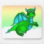 Twilight Flight - Cute Green & Blue Dragon Mouse Pad