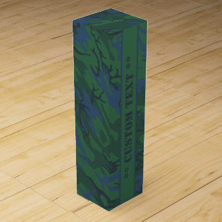 Twilight Green Camo w/ Custom Text Wine Gift Boxes