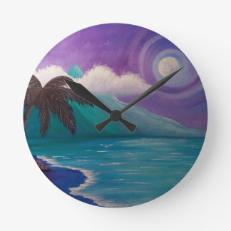 Twilight in Paradise Round Clock
