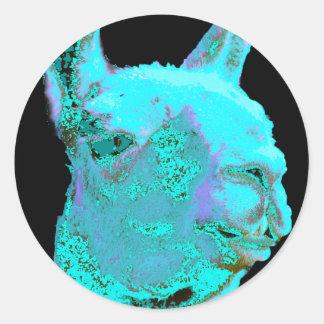 Twilight Llama, turqoise llama, llama head Classic Round Sticker