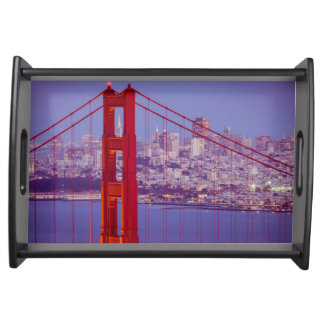 Twilight Over The Golden Gate Bridge Serving Trays