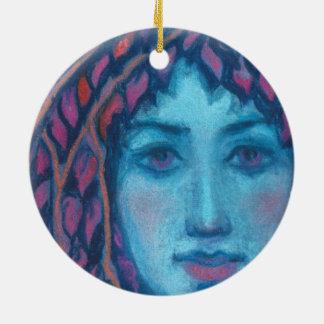 """Twilight"", pastel painting, fantasy art, dryade Round Ceramic Ornament"