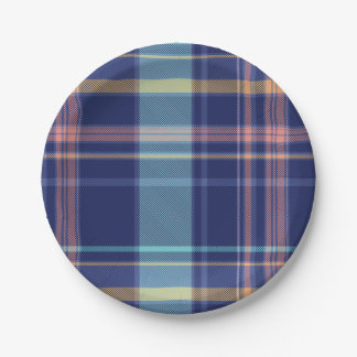 Twilight Plaid 7 Inch Paper Plate