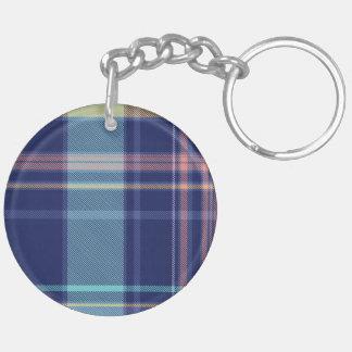 Twilight Plaid Double-Sided Round Acrylic Keychain