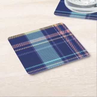 Twilight Plaid Square Paper Coaster