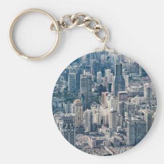 Twilight Shanghai city China aerial view Keychain