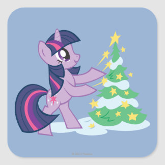 Twilight Sparkle Decorating Christmas Tree Square Sticker