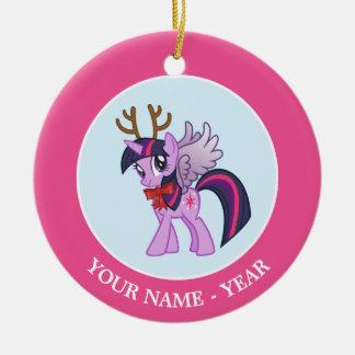 Twilight Sparkle Reindeer Round Ceramic Ornament