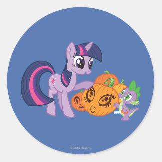 Twilight Sparkle with Halloween Pumpkin Round Sticker