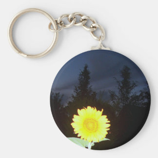 Twilight Sunflower Basic Round Button Keychain