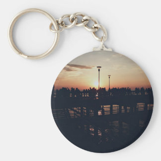 Twilight Themed, People Enjoying Twilight Sky Over Basic Round Button Keychain