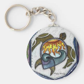 Twilight Turtle Swim Basic Round Button Keychain