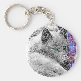 Twilight Wolf Moon Animals Basic Round Button Keychain