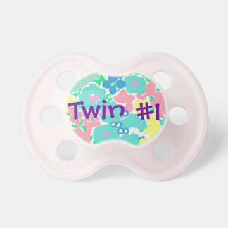 """Twin #1"" Floral Baby Girl Pacifier"