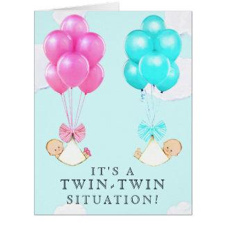 Twin Babies Congrats Card