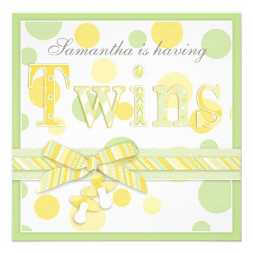 Twin Babies Mint Yellow Dots Baby Shower Personalized Invitations
