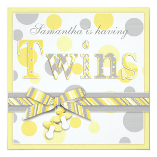 """Twin Babies Yellow Grey Dots Baby Shower 5.25"""" Square Invitation Card"""