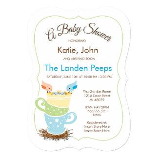 Twin Baby Birds    Baby Shower Invitation