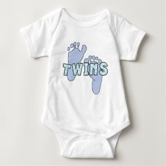 Twin baby boy footprints bodysuit