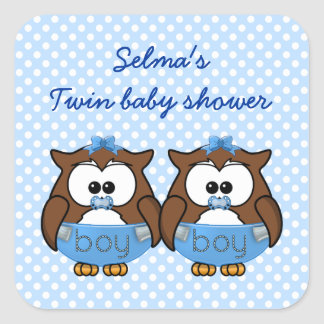 twin baby boy owl square sticker