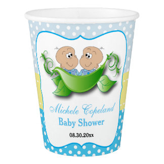 Twin Baby Boy Shower - Two Peas In A Pod Paper Cup