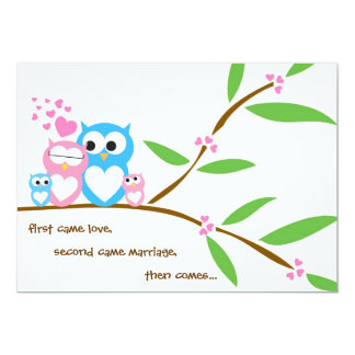 "Twin Baby Girl and Boy Owl Baby Shower Invitation 5"" X 7"" Invitation Card"