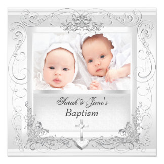 """Twin Baby Girl Boy Christening Baptism White 5.25"""" Square Invitation Card"""