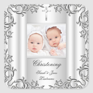 Twin Baby Girl Boy Christening Baptism White Square Sticker