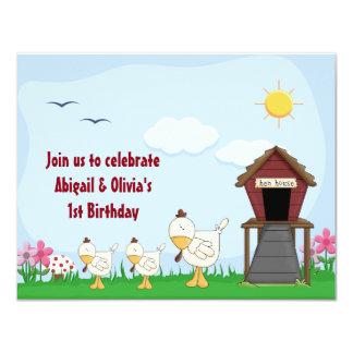 Twin Baby Girl Chicks 1st Birthday Invitation