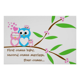 Twin Baby Girl Owls Poster with Customized Text
