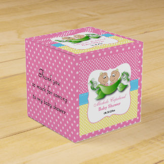 Twin Baby Girl Shower - Two Peas In A Pod Favor Box