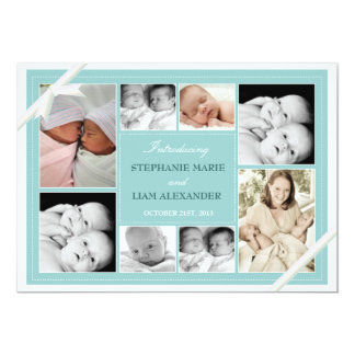 Twin Baby Photo Collage Baby Announcement | Teal