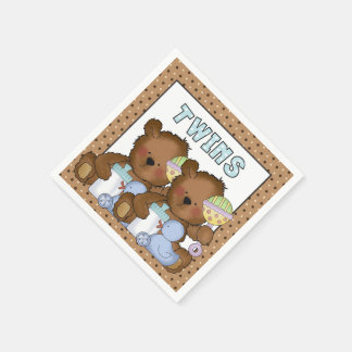 Twin baby shower boy bears paper napkins
